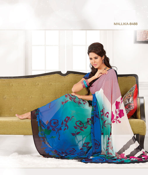atisundar Shashi: Great Blue Colored Saree In Faux Georgette - 3297 - atisundar - 3 - click to zoom