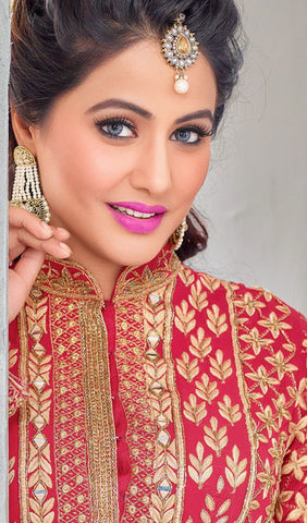 The Heena Khan Collection:atisundar delightful Pink Designer Partywear Suits Featuring Heena Khan - 10133 - atisundar - 4