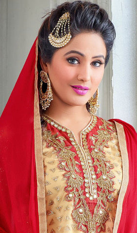 The Heena Khan Collection:atisundar beauteous Beige Designer Partywear Suits Featuring Heena Khan - 10134 - atisundar - 4