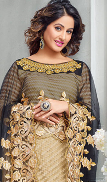 The Heena Khan Collection:atisundar Superb Beige Designer Partywear Suits Featuring Heena Khan - 10136 - click to zoom
