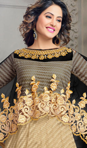 The Heena Khan Collection:atisundar Superb Beige Designer Partywear Suits Featuring Heena Khan - 10136 - atisundar - 4