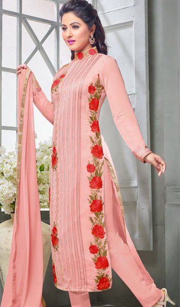 The Heena Khan Collection:atisundar beauteous Light Pink Designer Partywear Suits Featuring Heena Khan - 10137 - atisundar - 2 - click to zoom