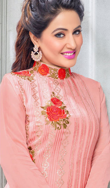 The Heena Khan Collection:atisundar beauteous Light Pink Designer Partywear Suits Featuring Heena Khan - 10137 - atisundar - 4 - click to zoom