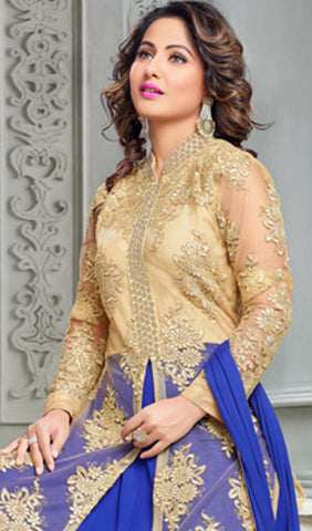 The Heena Khan Collection:atisundar wonderful Beige Designer Partywear Suits Featuring Heena Khan - 10140 - atisundar - 4