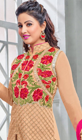 The Heena Khan Collection:atisundar elegant Beige Designer Partywear Suits Featuring Heena Khan - 10141 - atisundar - 4 - click to zoom