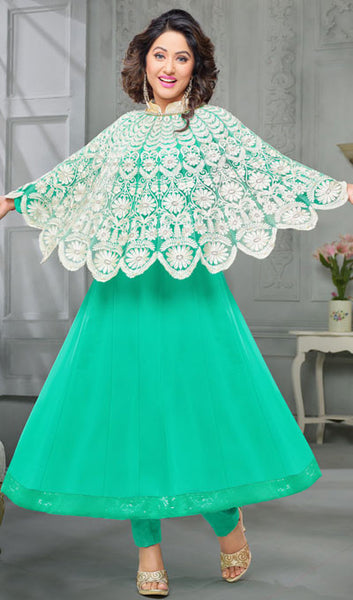 The Heena Khan Collection:atisundar refined Sea Green And White Designer Partywear Suits Featuring Heena Khan - 10142 - atisundar - 2 - click to zoom