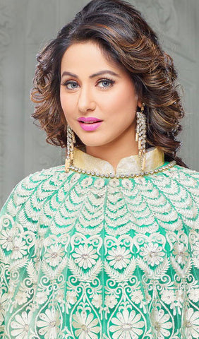 The Heena Khan Collection:atisundar refined Sea Green And White Designer Partywear Suits Featuring Heena Khan - 10142 - atisundar - 4