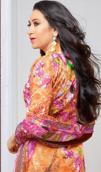 The Karishma Kapoor Collection:atisundar delicate Orange And Pink Pure Lawn Cotton Designer Suits Featuring Karishma Kapoor - 10165 - atisundar - 2 - click to zoom
