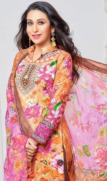 The Karishma Kapoor Collection:atisundar delicate Orange And Pink Pure Lawn Cotton Designer Suits Featuring Karishma Kapoor - 10165 - atisundar - 4 - click to zoom