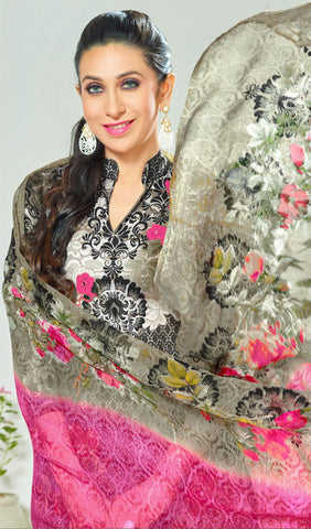 The Karishma Kapoor Collection:atisundar charming Black And Grey Pure Lawn Cotton Designer Suits Featuring Karishma Kapoor - 10166 - atisundar - 4 - click to zoom
