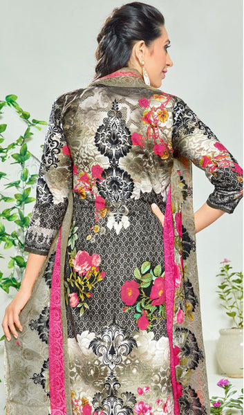 The Karishma Kapoor Collection:atisundar charming Black And Grey Pure Lawn Cotton Designer Suits Featuring Karishma Kapoor - 10166 - click to zoom