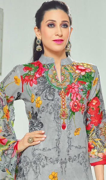The Karishma Kapoor Collection:atisundar exquisite Grey Pure Lawn Cotton Designer Suits Featuring Karishma Kapoor - 10168 - atisundar - 4 - click to zoom