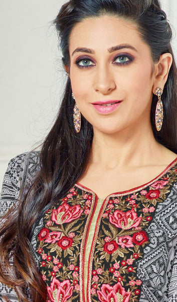 The Karishma Kapoor Collection:atisundar radiant Grey And Red Pure Lawn Cotton Designer Suits Featuring Karishma Kapoor - 10169 - atisundar - 4 - click to zoom