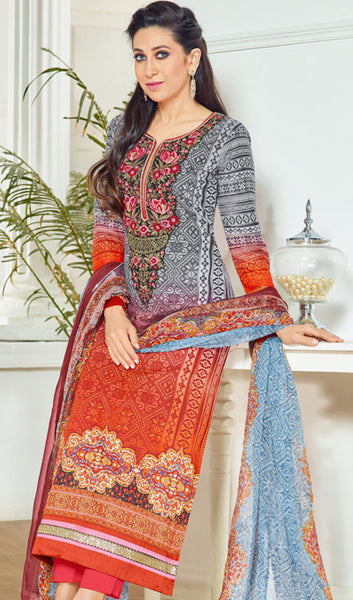 The Karishma Kapoor Collection:atisundar radiant Grey And Red Pure Lawn Cotton Designer Suits Featuring Karishma Kapoor - 10169 - atisundar - 2 - click to zoom