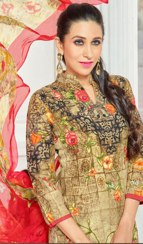 The Karishma Kapoor Collection:atisundar divine Beige And Multi Pure Lawn Cotton Designer Suits Featuring Karishma Kapoor - 10171 - atisundar - 4