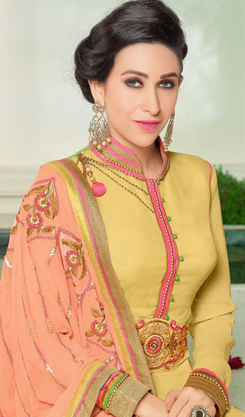 The Karishma Kapoor Collection:atisundar Superb Yellow Designer Suits With Embroidered Duppatta Featuring Karishma Kapoor - 10211 - atisundar - 4 - click to zoom