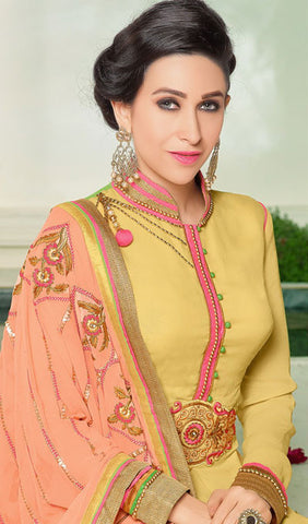 The Karishma Kapoor Collection:atisundar Superb Yellow Designer Suits With Embroidered Duppatta Featuring Karishma Kapoor - 10211 - atisundar - 4