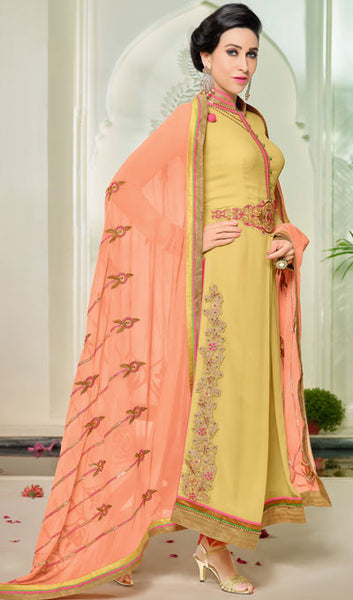 The Karishma Kapoor Collection:atisundar Superb Yellow Designer Suits With Embroidered Duppatta Featuring Karishma Kapoor - 10211 - atisundar - 2 - click to zoom