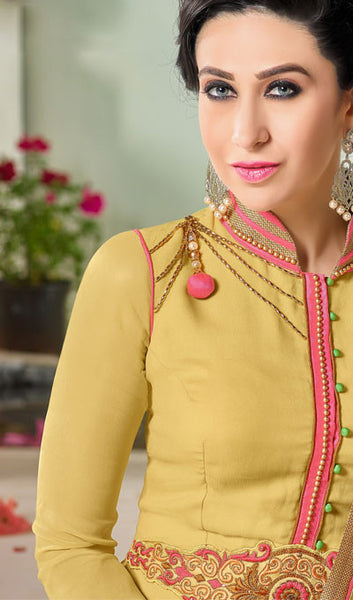 The Karishma Kapoor Collection:atisundar Superb Yellow Designer Suits With Embroidered Duppatta Featuring Karishma Kapoor - 10211 - atisundar - 3 - click to zoom
