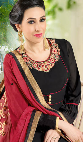 The Karishma Kapoor Collection:atisundar appealing Black And Red Designer Suits With Embroidered Duppatta Featuring Karishma Kapoor - 10214 - atisundar - 4