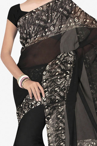 Designer Saree:atisundar exquisite Designer Saree in Faux Georgette in Black  - 11647 - atisundar - 2