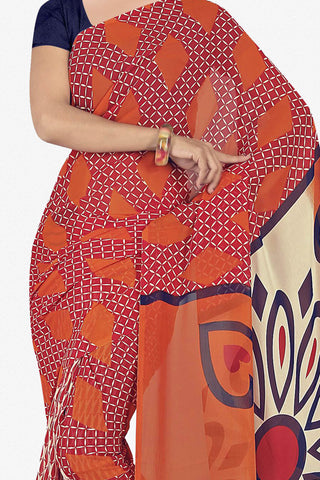 Designer Saree:atisundar enticing Designer Saree in Faux Georgette in Orange  - 11648 - atisundar - 2
