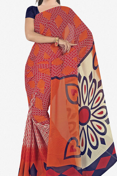 Designer Saree:atisundar enticing Designer Saree in Faux Georgette in Orange  - 11648 - atisundar - 1 - click to zoom