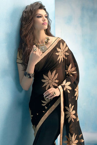 Designer Saree:atisundar resplendent Designer Party Wear Saree in Black  - 12783