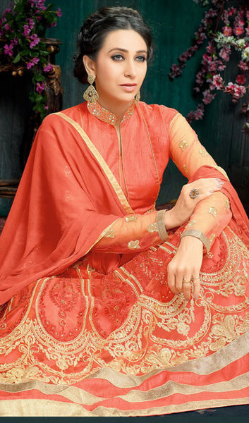 The Karishma Kapoor Collection:atisundar cute Orange Party wear anarkalis with embroidered sleeves featuring Karishma Kapoor - 10226 - atisundar - 2 - click to zoom