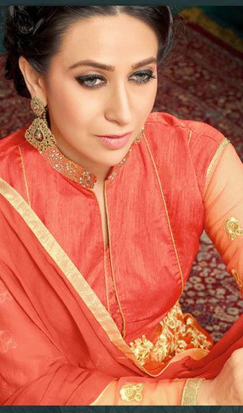 The Karishma Kapoor Collection:atisundar cute Orange Party wear anarkalis with embroidered sleeves featuring Karishma Kapoor - 10226 - atisundar - 3 - click to zoom