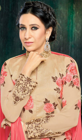 The Karishma Kapoor Collection:atisundar radiant Embroidered Banglori Silk With Embroidered Sleeves Party wear lehengas featuring Karishma Kapoor in Beige - 10234 - atisundar - 3
