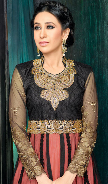 The Karishma Kapoor Collection:atisundar stunning Black And Peach Party wear anarkalis with embroidered sleeves featuring Karishma Kapoor - 10228 - atisundar - 3 - click to zoom