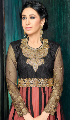 The Karishma Kapoor Collection:atisundar stunning Black And Peach Party wear anarkalis with embroidered sleeves featuring Karishma Kapoor - 10228 - atisundar - 3