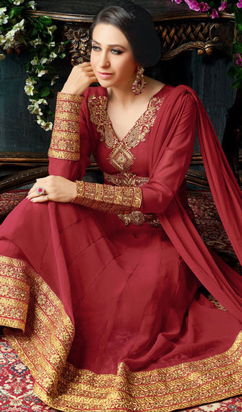 The Karishma Kapoor Collection:atisundar fair Maroon Party wear anarkalis with embroidered sleeves featuring Karishma Kapoor - 10230 - atisundar - 2 - click to zoom