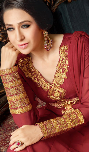 The Karishma Kapoor Collection:atisundar fair Maroon Party wear anarkalis with embroidered sleeves featuring Karishma Kapoor - 10230 - atisundar - 3 - click to zoom