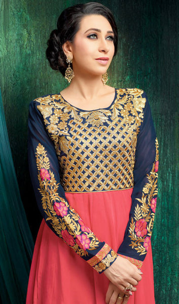 The Karishma Kapoor Collection:atisundar ravishing Blue And Peach Party wear anarkalis with embroidered sleeves featuring Karishma Kapoor - 10232 - atisundar - 2 - click to zoom
