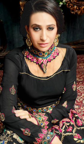 The Karishma Kapoor Collection:atisundar Beautiful Black Party wear anarkalis with embroidered sleeves featuring Karishma Kapoor - 10233 - atisundar - 2 - click to zoom