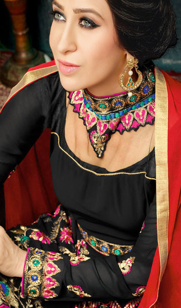 The Karishma Kapoor Collection:atisundar Beautiful Black Party wear anarkalis with embroidered sleeves featuring Karishma Kapoor - 10233 - atisundar - 3 - click to zoom