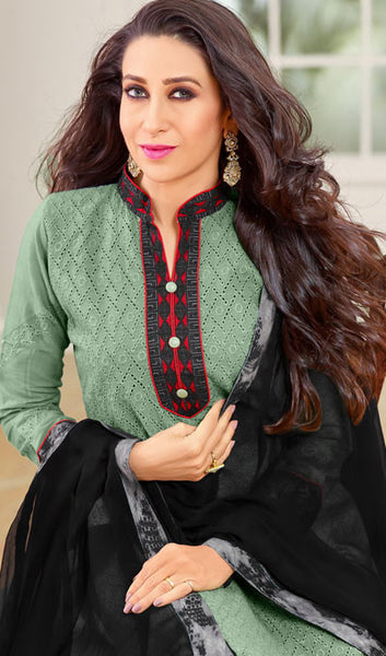 The Karishma Kapoor Collection:atisundar resplendent Green And Black Designer Straight Cut Suits With Front Schiffli Work And Printed Back Featuring Karishma Kapoor - 10406 - atisundar - 4 - click to zoom