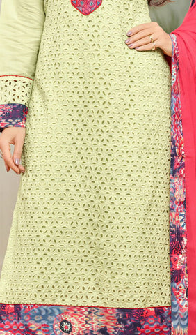 The Karishma Kapoor Collection:atisundar Awesome Pista Green Designer Straight Cut Suits With Front Schiffli Work And Printed Back Featuring Karishma Kapoor - 10407 - atisundar - 3 - click to zoom