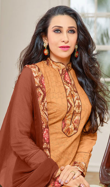 The Karishma Kapoor Collection:atisundar cute Orange Designer Straight Cut Suits With Front Schiffli Work And Printed Back Featuring Karishma Kapoor - 10408 - atisundar - 4 - click to zoom
