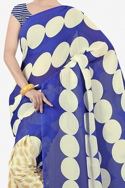 Designer Saree:atisundar dazzling Designer Saree in Faux Georgette in Blue  - 11651 - click to zoom