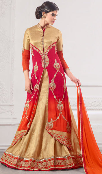 Designer Embroidered Suit:atisundar Lovely Pink And Orange Designer Embroidered Suits - 8689 - atisundar - 1 - click to zoom