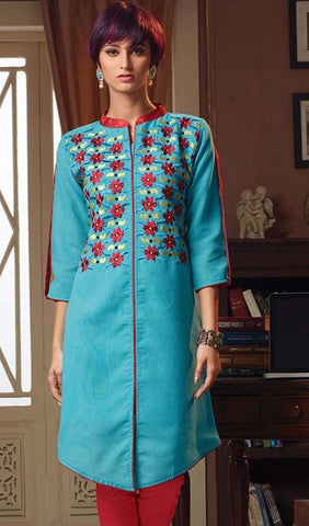 Designer Tops:atisundar Attractive Poly Linen Designer Tops in Sky Blue - 9188 - atisundar - 1 - click to zoom