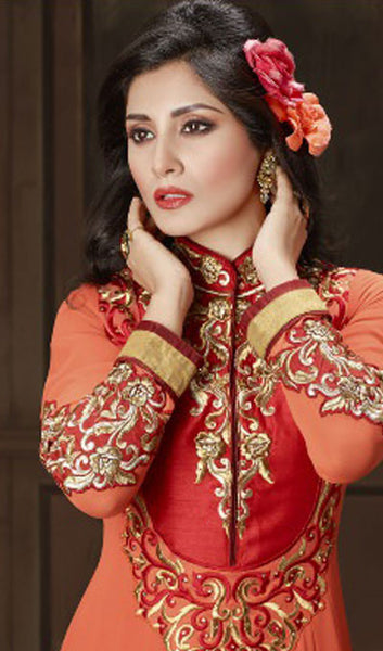 The Rimi Sen Collection:atisundar Charismatic Orange Designer Embroidered Anarkali - 8920 - atisundar - 4 - click to zoom