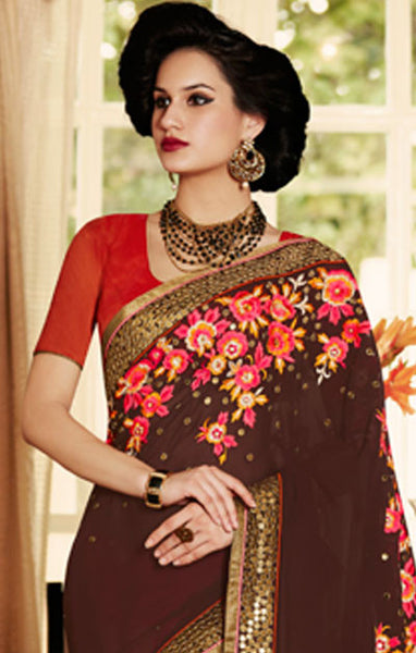 Designer Embroidered Saree:atisundar marvelous Designer Embroidery Saree in Brown  - 8601 - atisundar - 3 - click to zoom