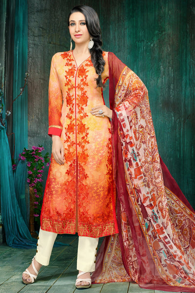 Atisundar magnificent Light Orange Embroidery on Printed Faux Georgette - 10461 - atisundar - 4 - click to zoom
