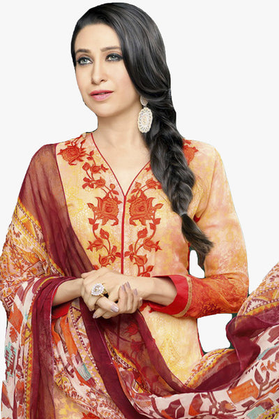 Atisundar magnificent Light Orange Embroidery on Printed Faux Georgette - 10461 - atisundar - 2 - click to zoom