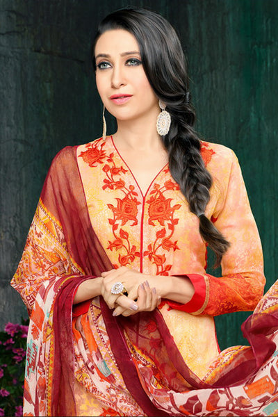 Atisundar magnificent Light Orange Embroidery on Printed Faux Georgette - 10461 - atisundar - 5 - click to zoom