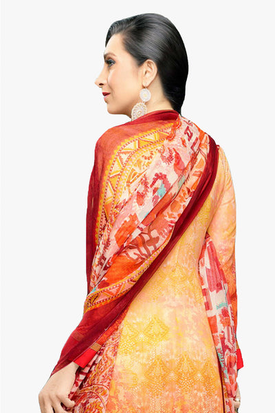 Atisundar magnificent Light Orange Embroidery on Printed Faux Georgette - 10461 - atisundar - 3 - click to zoom